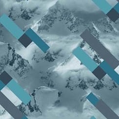 LOKKER POINT Membrane Design #MOUNTAINS GEOMETRY DENIM/AQUA